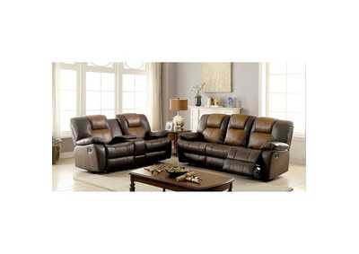 Image for Pollux Dark Brown/Light Brown Sofa and Loveseat w/4 Recliners