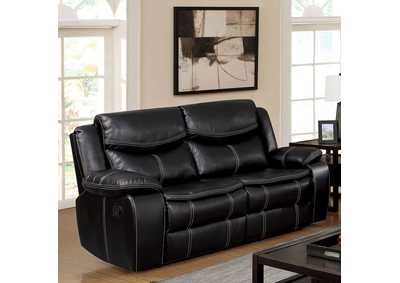 Pollux Black Loveseat w/Console and 2 Recliners