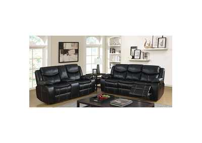 Pollux Black Sofa and Loveseat w/4 Recliners