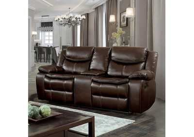 Pollu Brown Leather Reclining Loveseat
