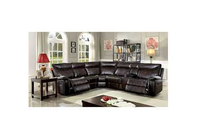 Karlee II Dark Brown Sectional w/Console