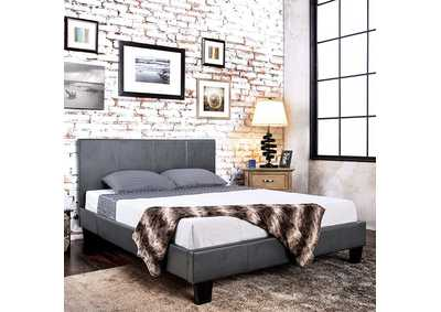 Image for Winn Park Gray Leatherette Upholstered Queen Platform Bed