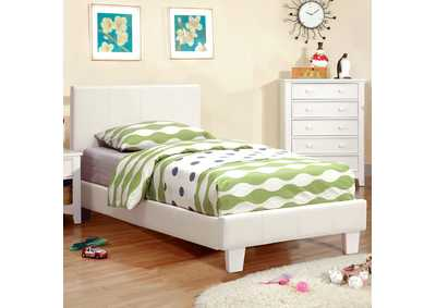 Image for Winn Park White Upholstered Twin Platform Bed