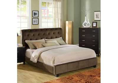 Image for Lemoore Dark Brown Upholstered Twin Bed