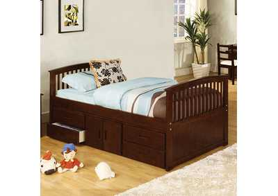 Image for Caballero Walnut Twin Platform Captain Bed
