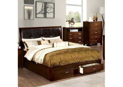 Image for Enrico III Brown California King Platform Storage Bed