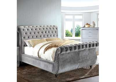 Noella Gray Upholstered Eastern King Sleigh Bed