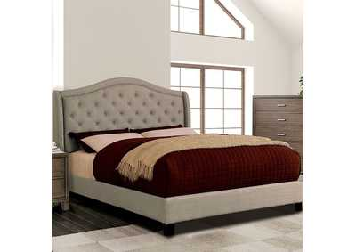 Image for Carly Warm Gray Upholstered King Platform Bed