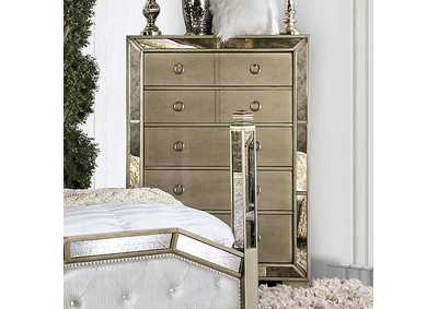 Image for Loraine Silver Chest w/Antique Mirror Panels