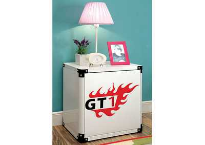 Image for Power Racer White Metal Nightstand