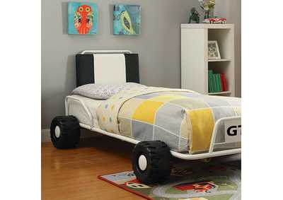 Image for Power Racer White Race Car Twin Bed
