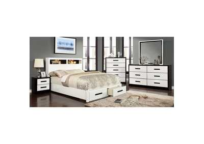 Rutger White & Black Queen Storage Bed
