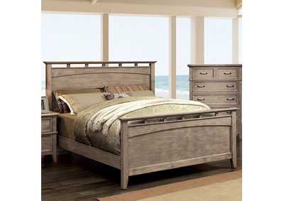 Loxley Weathered Oak Queen Low Profile Panel Bed