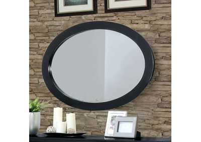 Lennart II Black Oval Mirror