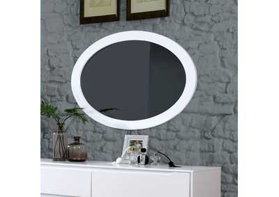 Lennart II White Oval Mirror