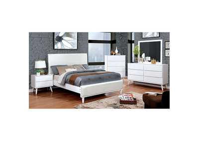 Lennart II White Upholstered Queen Bed