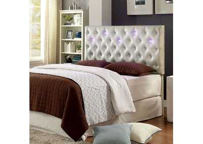 Aldebaran Pearl White Upholstered King Headboard