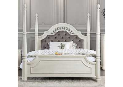Fantasia White Upholstered Queen Poster Panel Bed