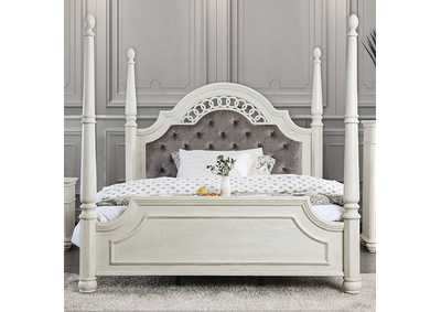 Image for Fantasia White Upholstered Queen Poster Panel Bed