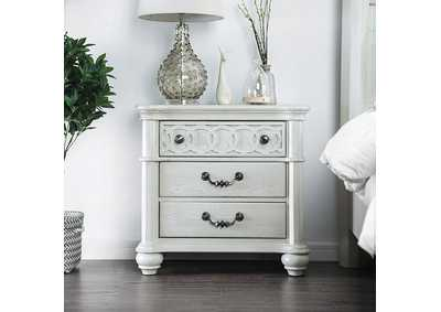 Fantasia White Nightstand,Furniture of America