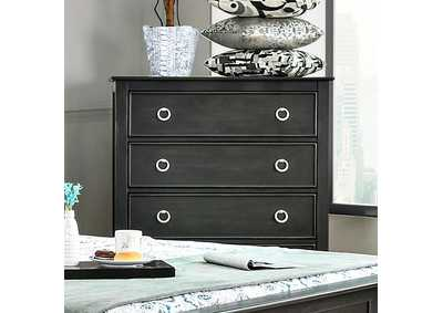 Arabelle Wire-Brushed Black Drawer Chest