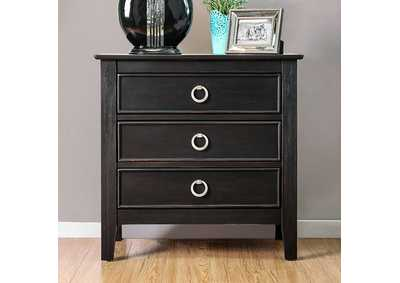 Arabelle Wire-Brushed Black Nightstand