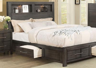 Karla Gray Queen Bookcase Storage Bed