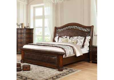 Janiya Brown Upholstered Queen Panel Bed