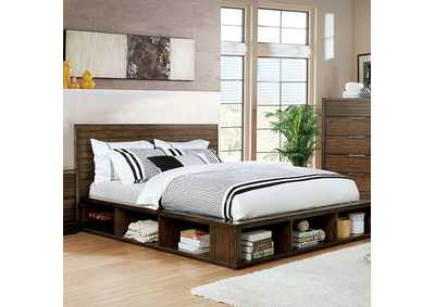 Tolna Brown Eastern King Storage Platform Bed
