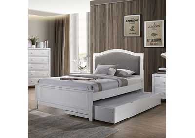 Kirsten Upholstered White Twin Storage Platform Bed