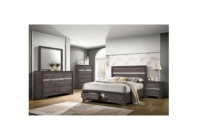 Chrissy Gray Upholstered Queen Storage Bed w/Dresser & Mirror