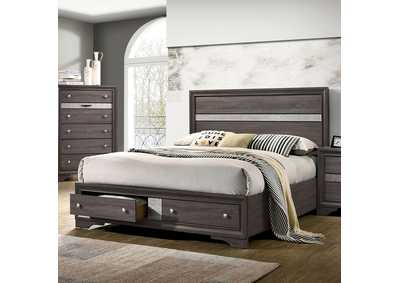 Chrissy Gray Upholstered Queen Storage Bed