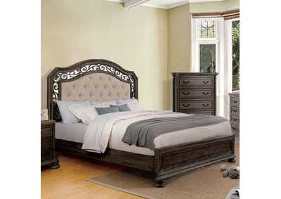 Persephone Rustic Natural Upholstered Platform Queen Bed