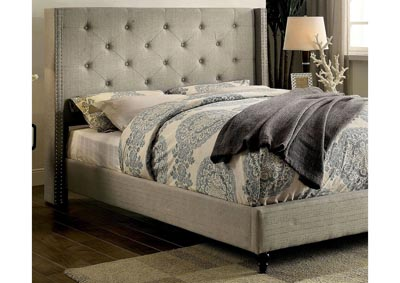 Anabelle Warm Gray Upholstered California King Platform Bed