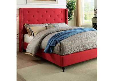 Anabelle Red Upholstered Queen Platform Bed