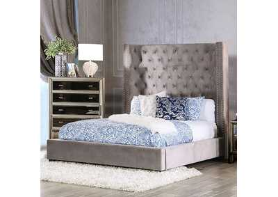 Mirabelle Grey Upholstered Eastern Bed