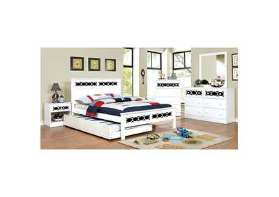 Cammi Blue/White Full Platform Bed w/Dresser, Mirror, Drawer Chest and Nightstand