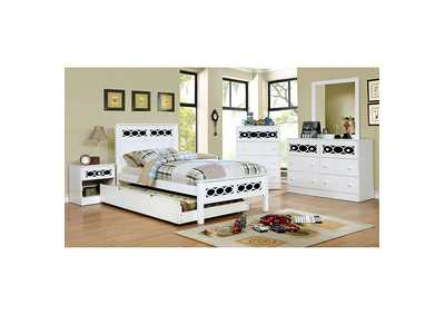Cammi Blue/White Twin Platform Bed w/Dresser, Mirror, Drawer Chest and Nightstand