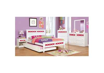 Cammi Pink/White Full Platform Bed w/Dresser, Mirror and Nightstand