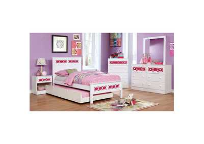 Cammi Pink/White Twin Platform Bed w/Dresser, Mirror and Nightstand