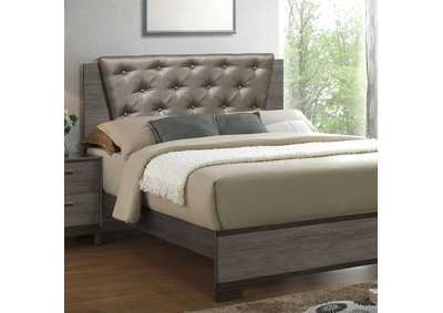 Image for Manvel Antique Gray Upholstered Platform California King Bed w/Exposed Wood Panel