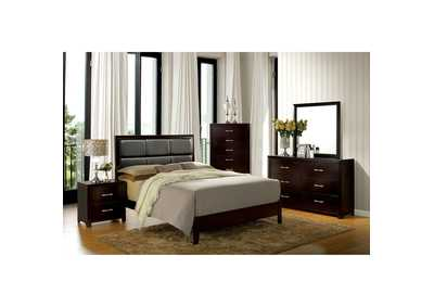 Image for Janine Espresso Queen Upholstered Bed