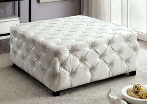 Regina White Bonded Leather Square Ottoman