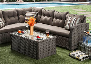 Moura Tan and Gray Patio Sectional