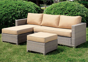 Sabina Tan/Gray Patio Sectional w/Ottoman