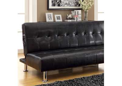 Image for Bulle Black Leatherette Futon Sofa
