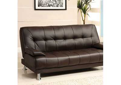 Image for Beaumont Dark Brown Leatherette Futon Sofa