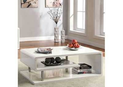Image for Ninove l White Lacquer Coffee Table w/Curled Shelving