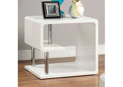 Image for Ninove l White Lacquer End Table w/Curled Shelving