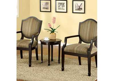 Image for Bernetta ll 3 Piece Earth Tone Striped Accent Table & Chair Set